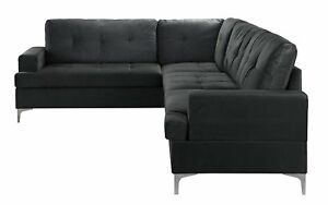 Outstanding Details About Classic Large Tufted Velvet Sectional Sofa Living Room Couch L Shape Black Inzonedesignstudio Interior Chair Design Inzonedesignstudiocom