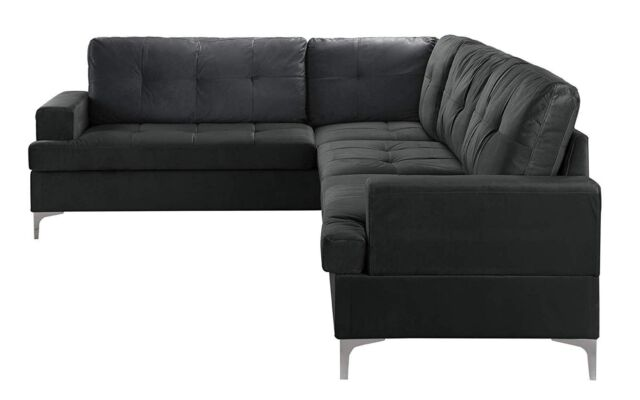 Classic Large Tufted Velvet Sectional Sofa, Living Room Couch L-Shape  (Black)