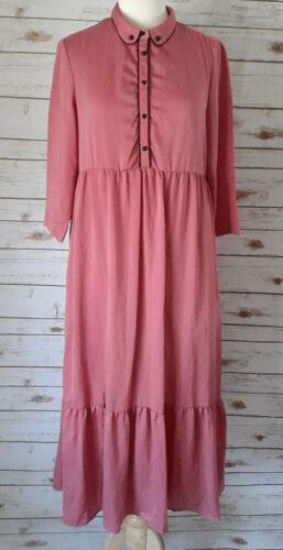 Prim Peasant Dress Size M Mauve w/ Black Trim Ruff