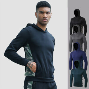 Men-039-s-Athletic-Sport-Hoodie-Running-Sports-Workout-Top-Gym-Hooded-with-Pockets