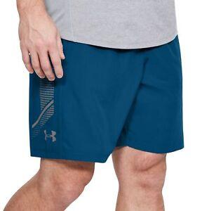 Marque De Tendance Under Armour Tissé Graphique Homme Formation Short-bleu-afficher Le Titre D'origine RafraîChissement