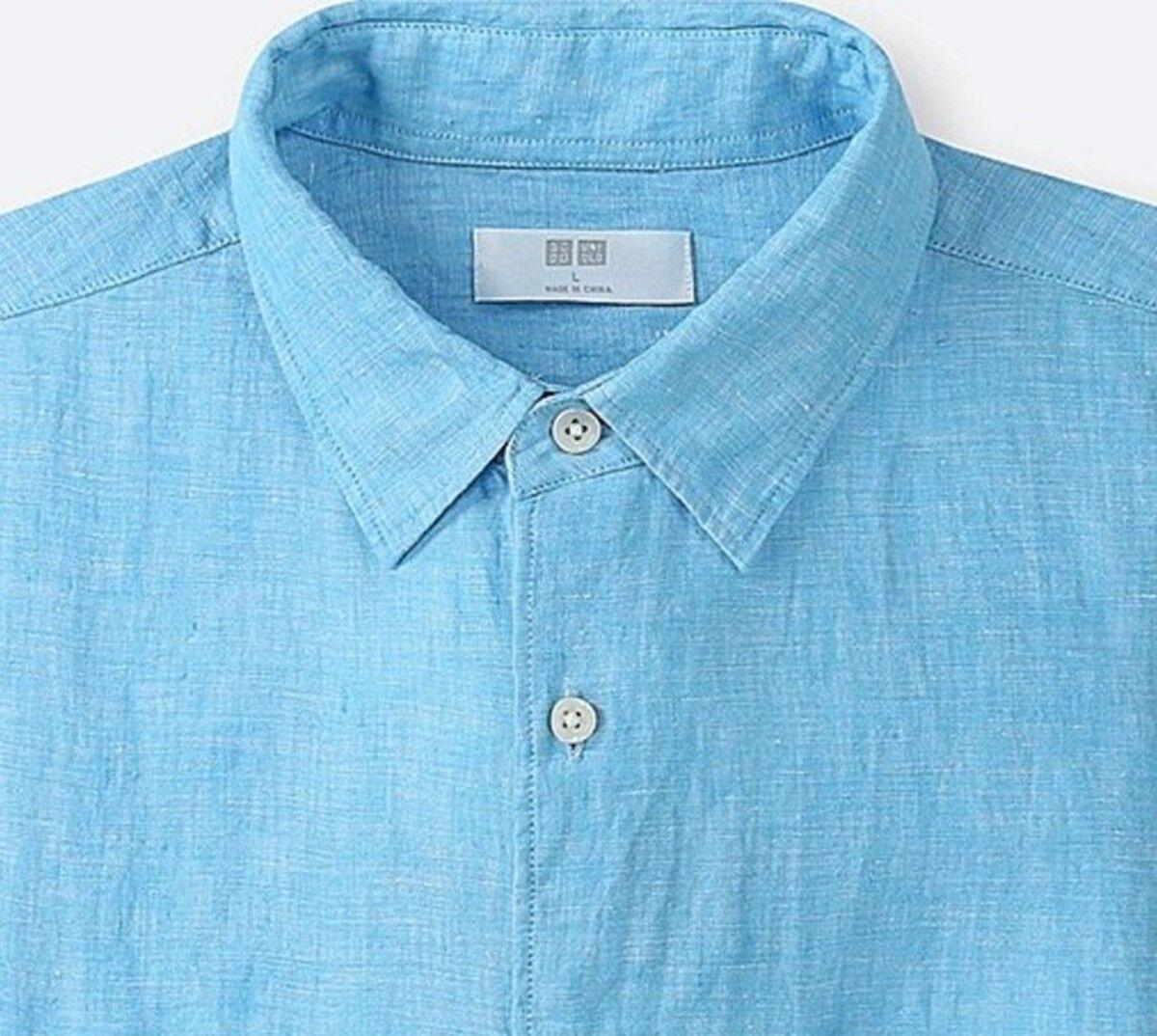 UNIQLO Men's 100% Premium French Linen Long-Sleeve Shirt L blueE (63) NWT