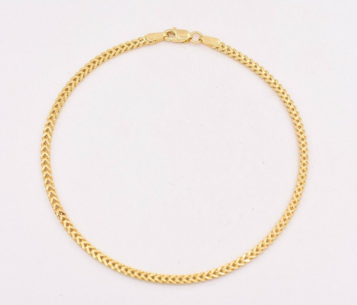 8  Mens Womens Square Franco Link Bracelet Real 10K Yellow gold 2.5mm