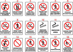 prohibition australian health safety signs ohs standard signs work