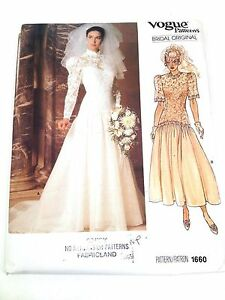 VOGUE SEWING PATTERN 1660 MISSES BRIDAL GOWN WEDDING DRESS SIZE 16