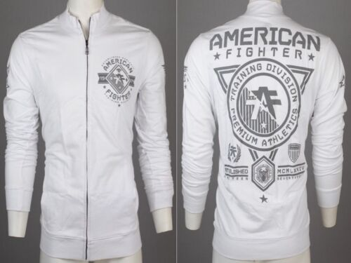 AMERICAN FIGHTER Men Track Jacket Shirt MASSACHUSETTS Athletic WHITE Gym UFC $70