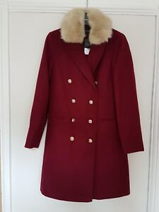 Topshop-Military-Burgundy-Coat-With-Faux-Fur-Collar-UK-Size-8-New