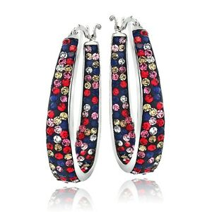 Silver-Tone-Multi-Color-Bright-Crystal-Ombre-Inside-Out-Oval-Hoop-Earrings