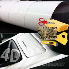 "24"" x 60"" Premium Gloss White Carbon Fiber 4D Vinyl Film Wrap Air Bubble Free"