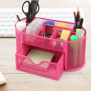 Astounding Details About Pink Desk Organizer Mesh Metal Desktop Office Pen Pencil Holder Storage Tray Download Free Architecture Designs Estepponolmadebymaigaardcom