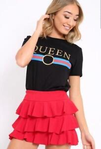 WOMEN LADIES LIBERTE REBELLIOUS GUILTY BONJOUR Slogan Striped Print T-Shirts Top