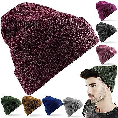 BEANIE HAT NEW KNITTED WINTER WARM WOOLY UNISEX MENS LADIES TURN UP SKATER CAP