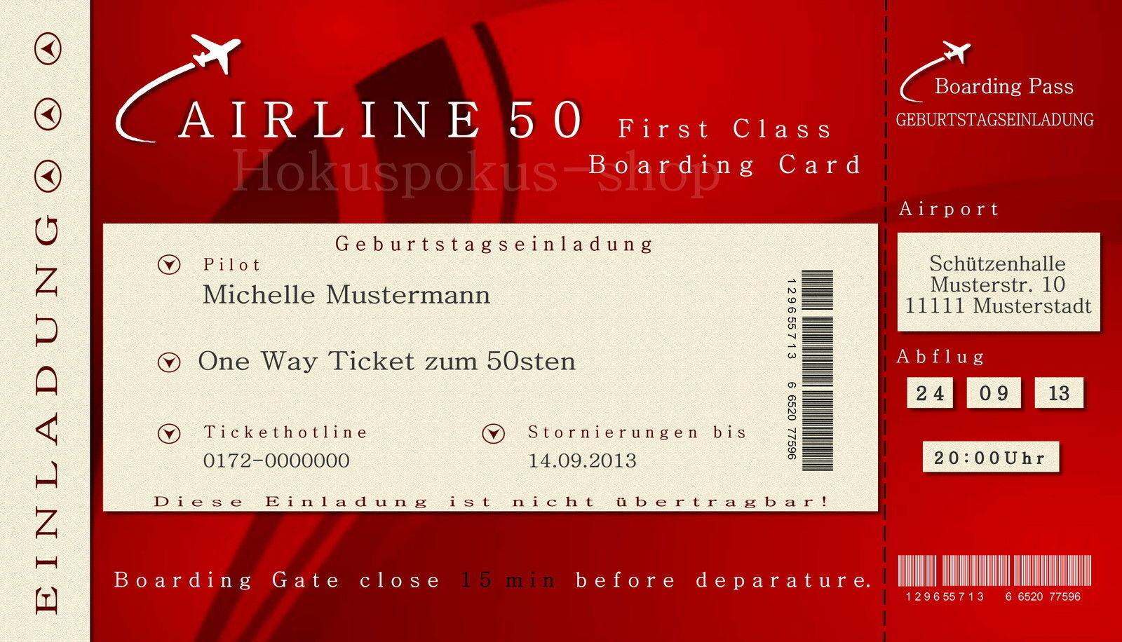 50 cada tarjetas de invitación cumpleaños invitaciones billete de avión cada 50 edad 30 40 60 piloto c26dde