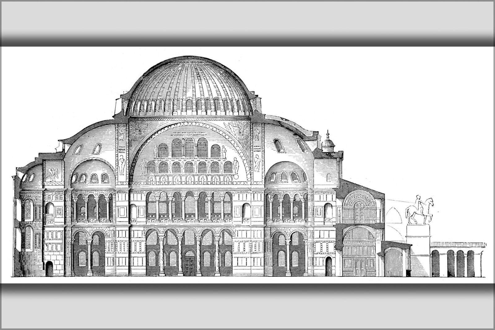 Plakat, Viele Größen; Querprofil von Hagia Sophia 1908