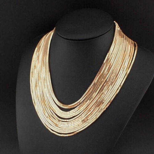 Multilayer  Chunky Style  Statement Necklace in Gold or Silver