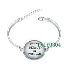 BElieve in YOUrself glass cabochon Tibet silver bangle bracelets wholesale