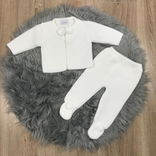 Spanish White Knitted Pom Pom Set Spanish Baby Clothes Spanish Baby Outfit