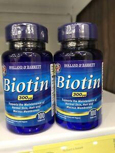 Details about Holland & Barrett Biotin (2x100 tablets, 300ug, Free  International Postage)