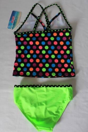 NUOVO Ragazze 2 PC Tankini Set Costume da bagno XS 4-5 a Pois Halter Top Di Bikini Bottom