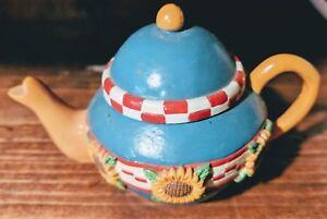 Mary-Engelbreit-Miniature-Teapot-Blue-Yellow-Sunflowers-Trinket-Box-Vintage
