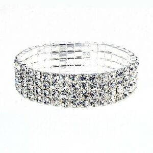 1154-Stretch-silver-rhinestone-four-row-tennis-bracelet-fashion-jewellery-O-s