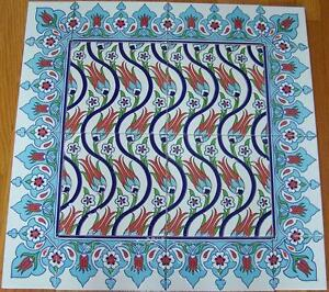 """Raised Red Tulip Design 24""""x24"""" (60cmx60cm) Turkish Ceramic Tile Mural Panel"""