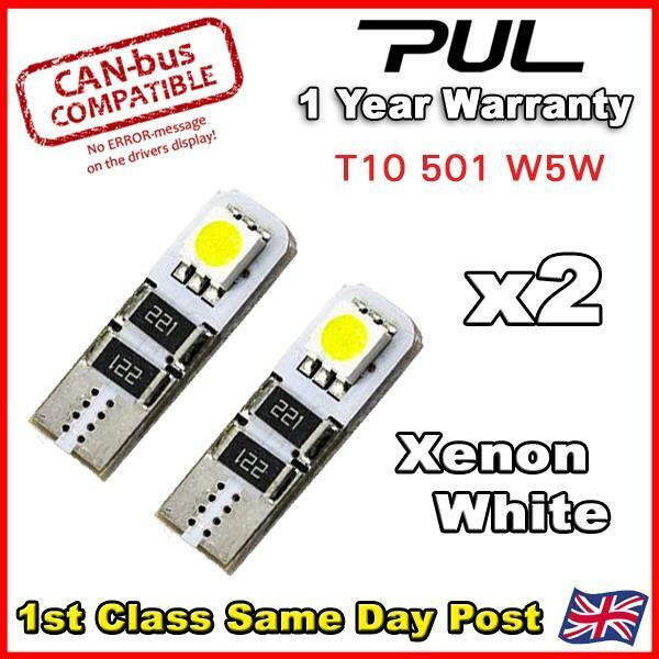 2 X White ERROR FREE CANBUS 501 2 SMD LED NUMBER PLATE BULBS T10 W5W 194