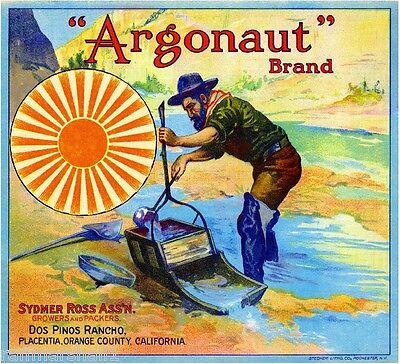 Cucamonga 49/'er 49er 49ers Gold Miner Orange Citrus Fruit Crate Label Art Prnt
