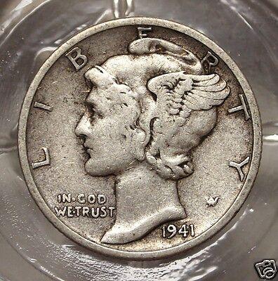 1941 Mercury Dime   Coin no 7282