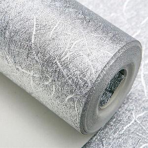 10m Luxury Deep Embossed Textured Metallic Silver Vinyl