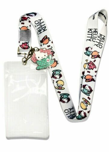 Hello Kitty in the Teacup Sanrio New Lanyard /& ID Badge Holder /& Charm Fashion