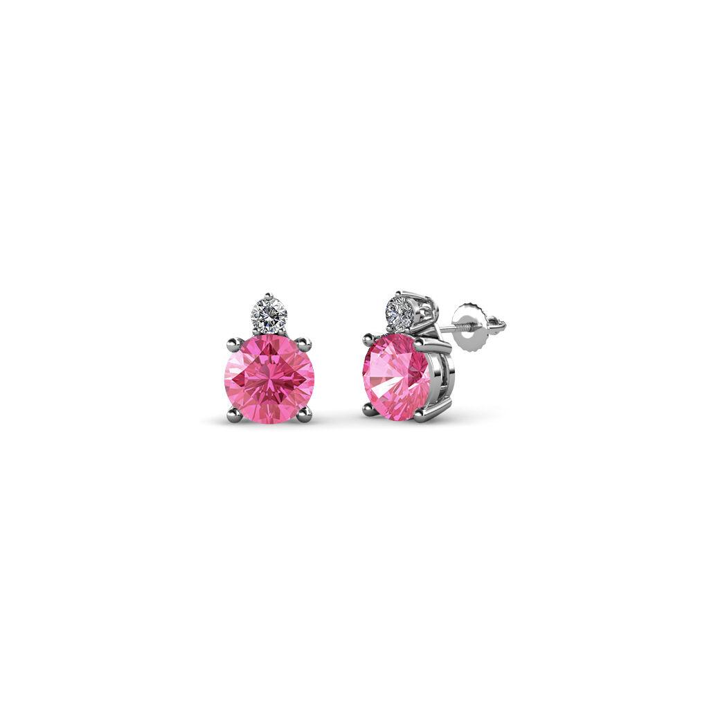Pink Tourmaline & Diamond 2 Stone Stud Earrings 0.65 Carat tw 14K gold JP 68997