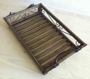 tablett mit henkel anti look shabby braun antik landhaus. Black Bedroom Furniture Sets. Home Design Ideas