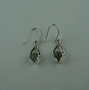 Details zu Edelstein Ohrhänger mit rohem Opal aus Äthiopien Sterling Silber Ohrringe