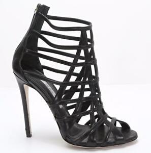 GIANMARCO-LORENZI-Womens-Black-Leather-Cage-Ankle-Boot-High-Heel-8-5-38-5