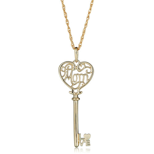 """10K Yellow Gold Heart Key with /""""MOM/"""" Pendant Necklace with 18/"""" Chain"""