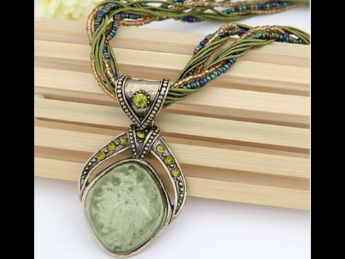 Olive Green Bohemian style Pendant Multi Strand Glass Seed Bead /& Cord Necklace