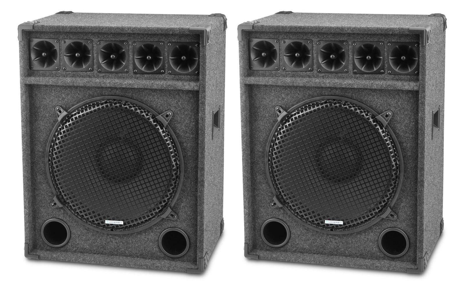 2x 15  (38cm) Cajas Altavoces DJ PA Subwoofer Bass Reflex Festival Box 1200w Set
