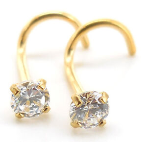 Pair-Prong-Set-Gold-Tone-Stainless-18G-20G-Nose-Screw-CZ-AB-Crystal-Rings-Body