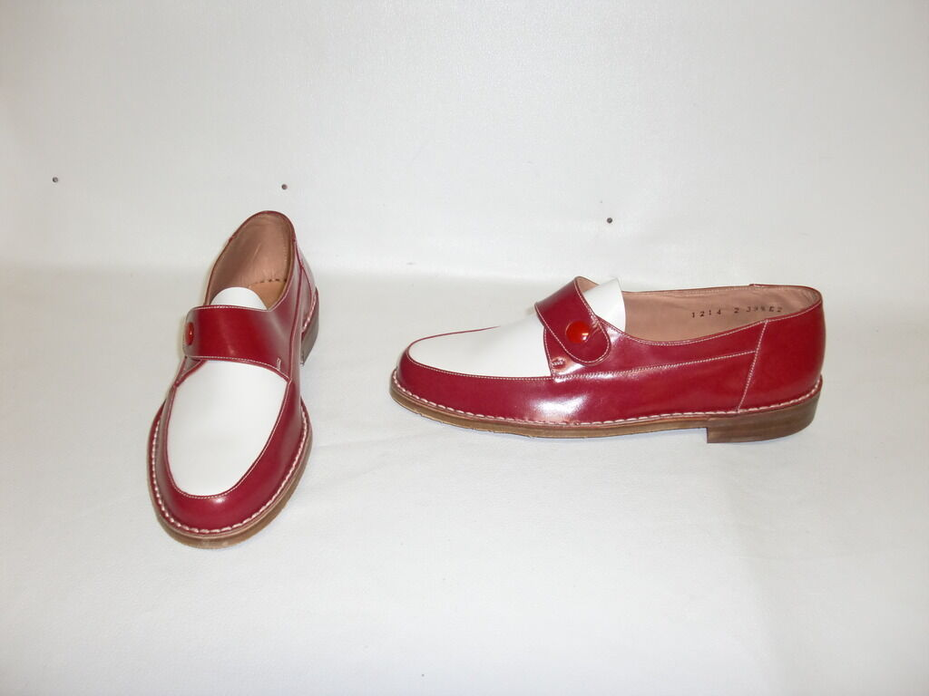 MAGNIFIQUE CHAUSSURE 2 TONS red whiteHE  VINTAGE 1950 NEUF  T 42.5  SPECTATOR