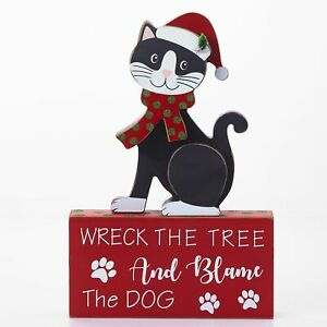 Wreck-The-Tree-And-Blame-The-Dog-Wooden-Cat-and-Sign-Decoration-2-Pieces