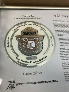 Smokey-Bear-Framed-75th-Birthday-Limited-Edition-Trail-Marker-Only-2-000-Made