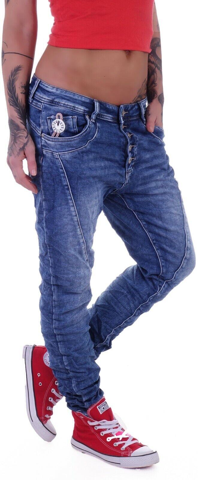 10518 Jeans Femmes Boyfriend Baggy haremscut Jeans Femmes Pantalon Slimfit Bleach