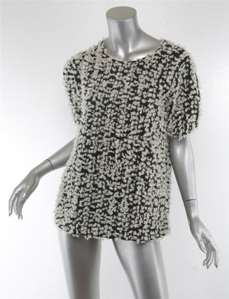 NOVEMBER SIX damen schwarz Ivory Embroiderot Short Sleeve Hi-Low Top Blouse 1 NEW