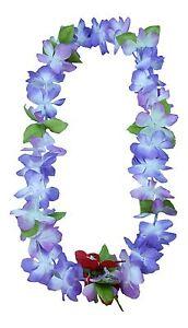 Hawaiian Lei Party Luau Floral Princess Plumeria Silk Dance Flower Blue Purple