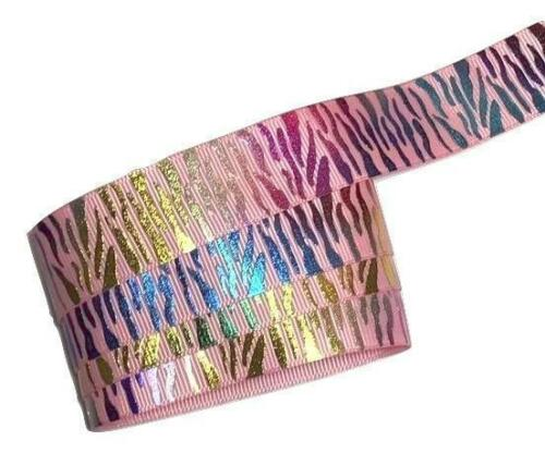 "5 yards Metallic rainbow light pink zebra print 7//8/"" grosgrain ribbon DIY bows"