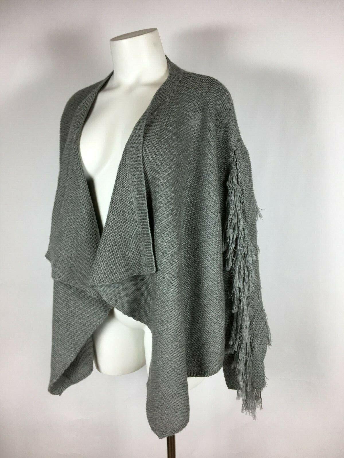 RAMY BROOK - Fringed Sleeve Draped Panel front Cardigan Sweater XS