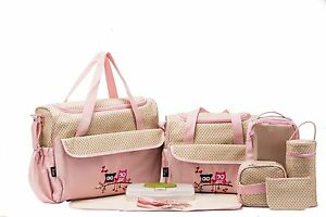 Details About 10 Pieces Diaper Bag Set Owl Pink Baby Shower Newborn Tote Free Shipping