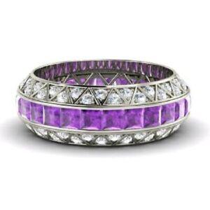 3-70-Ct-Amethyst-Gemstone-Eternity-Band-14K-Solid-White-Gold-Diamond-Rings-Size