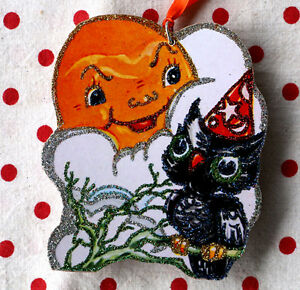 Glittered Wooden Halloween Ornament~Full Moon & Owl~Vintage Card Image